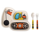 Kids Children Cutlery Plate Dinner Eating Set Spoon Fork Baby Dishes