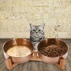 Kittens Puppies Cat Stainless Steel Food Bowl Water Feeder With Wooden Stand