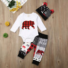Kyпить  NEW Buffalo Plaid Baby Bear Boys Bodysuit Pants Hat Outfit Set  на еВаy.соm