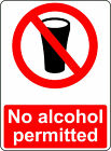 NO ALCOHOL PERMITTED OSHA DECAL SAFETY SIGN STICKER 3M USA MADE
