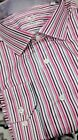 NWT Bugatchi men's long sleeve button down shirt striped shaped fit 18 34/35