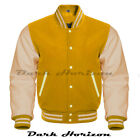 Varsity Bomber Letterman Baseball Yellow Wool & Cream Leather Sleeves jacket