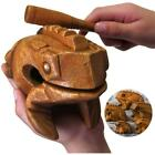 Wood Frog Musical Instrument Tone Wood Block Figurines EH7E