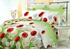 NEW! Bedding Set Floral Tulip Green White Cotton Blend Viluta Twin Double Euro image