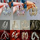 18k Gold Plated Cubic Zirconia Huggie Hoop Hiphop Leverback Earring