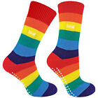 THMO Mens  WomensThermal Rainbow Non Skid Slipper Socks with Grippers