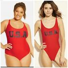 NEW Xhilaration Red PATRIOTIC USA Scoop Back Swimsuit ONE PIECE MULTIPLE SZ