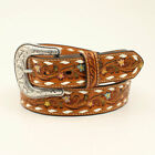 FLORAL TOOLING Buckstitch Belt ~NOCONA~ Brown Leather Western COWGIRL N32000 20