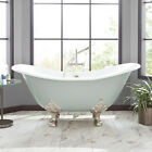 "Signature Hardware 61"" Arabella Cast Iron Double Slipper Sage Green Bathtub"