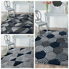 NEW DESIGN Quality Navy Blue Silver Grey Small Large Rug Modern Living Room Rugs