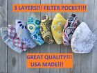 Kyпить Face mask,USA MADE!!!!3LAYERS!!!!!!  filter pocket HANDMADE Great Quality!!!!!! на еВаy.соm