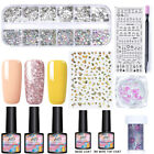 MAD DOLL UV Gel Nail Polish Base Top Coat 3D Nail Art Rhinestones Decor Sticker