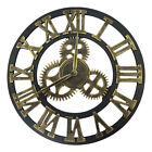 Round Gold Modern Outdoor Wall Roman Numerals Clock Large Silent Non Ticking 16