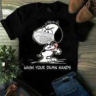 Funny Gildan Snoopy* Mask Wash Your Damn Hands T-Shirt for Peanuts* Lovers S-5XL image