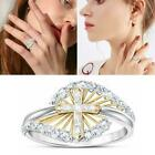Women Fashion White Sapphire Ring Elegant Cross Two Rings Silver Tone Color A3g2