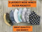 Face mask,USA MADE!!!!3LAYERS!!!  filter pocket!!! nose wire!!!! Great Quality!!