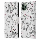 ANIS ILLUSTRATION FLORAL SKELETONS LEATHER BOOK CASE FOR APPLE iPHONE PHONES