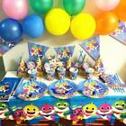 Baby Shark Kids Birthday Party Supplies Favor Tableware Decor  Tablecloth Plates