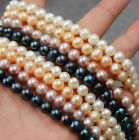 7-8mm Natural Freshwater Pearl Near Round Loose Beads 14 Inch DIY