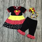 NEW Boutique Minnie Mouse Tiered Tunic Dress Ruffle Leggings Girls Outfit Set