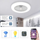 BT Smart LED Ceiling Fan Light Dimmable Remote Control Living Room Lamp 180-265V