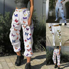Womens Butterfly Printed High Waist Casual Trousers Loose Jogger Harem Pants