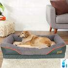 Large Plush Bed Orthopedic Foam Pet Dog Bolster Bed & Sofa with Waterproof Liner