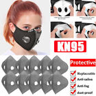 Reusable Double Breathing Valve Face Mask Washable W/activated Carbon Filters Us