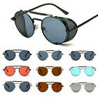 Vintage Retro Steampunk Sunglasses Side Shield Wrap Gothic Hipster Round Glasses