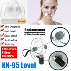 Reusable Face Masks Clear Mouth Cover Purify Respirator With 12pc Filters Pad US