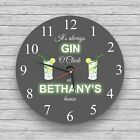 Personalised wall clock Wine O'Clock Glass Wall Clock Beer Gin Cocktail Prosecco
