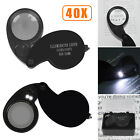 40X 25mm Loupe Jewelry Diamond Coin Eye Magnifying LED Glass Magnifier Folding