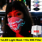 Reusable Led Voice-activated Mask 7color Changing Usb Light &10 Fliter Pads