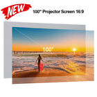 80''-120'' Portable Projector Screen HD 16:9 Frameless Wall Mounted Home Movies