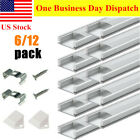 6/12 Pack 1m Each Aluminum Channel For Led Strip Lights U-shape Track And Cover