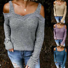 Women Cold Shoulder Cut Out Long Sleeve Sweater Loose Knitwear Fashion Pullovers