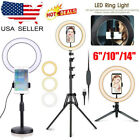 US LED Ring Light with Phone Holder & Tripod Stand Dimmable Desk Ringlight Kit