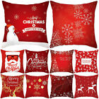 Deer Snowflake Xmas Trees Holiday Decorative Cushion Cover Cotton Linen 18x18 In
