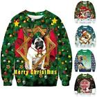 Women Men Christmas Sweatshirt Xmas Printed Ugly Jumper Loose Long Sleeve Top