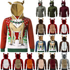 Christmas Mens Hooded Sweatshirt Funny Printed Pullover Hoodies Jumper Xmas Tops