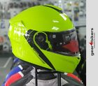 MT Storm Solid Fluo Yellow Motorcycle Helmet Scooter Commuter System Flip Up