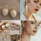 Pearl Tassel Heart Earrings Stud Dangle Charms Wedding Party Fashion Women Gift