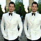 Ivory Groom Mens Suit for Wedding Lapel Double Breasted Prom Party Tuxedos Ying6