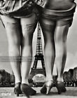 1900s Risqué Photo Two Women in Stockings Eiffel Tower Forced Perspective Poster