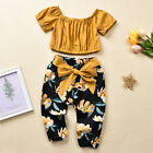 2PCS Toddler Kids Baby Girls Ruched Solid T-shirt Tops Floral Pants Outfits