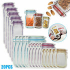 20/40Pcs Reusable Mason Jar Bottle Bag Food Snack Zipper Seal Food Container Set