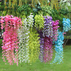 12/24x Artificial Wisteria Fake Garden Flower Vines Hanging Outdoor Home Decor Q