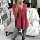 Women Summer Short Sleeve T Shirt Casual V Neck Tops Solid Loose Blouse Tunic