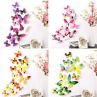 24pcs Colorful Butterfly 3d Wall Sticker Self Adhesive Diy Mural Home Decor Uk
