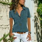 Summer Womens Short Sleeve V Neck T Shirt Button Solid Blouse Casual Pocket Top